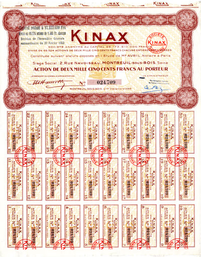 Aktie Kinax AG France mit Coupons